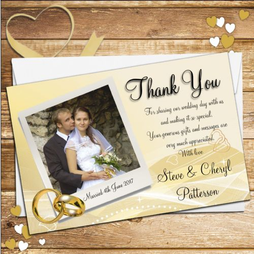 10 Personalised Gold Rings Wedding Thank you Photo cards N104